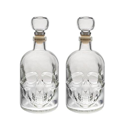 2 Leere Glasflaschen 500ml Glasflasche Totenkopf Made IN Germany Flasche Pirat Skull Glasschädel 0,5 Liter l Glas-Schädel Likörflaschen Whisky Karaffe Schnapsflasche von slkfactory