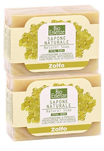 Jabón de azufre, ideal para acné o para pieles grasas, impuras – Apto para todo el cuerpo y para el cabello – Bio Essenze – 2 x 100 g