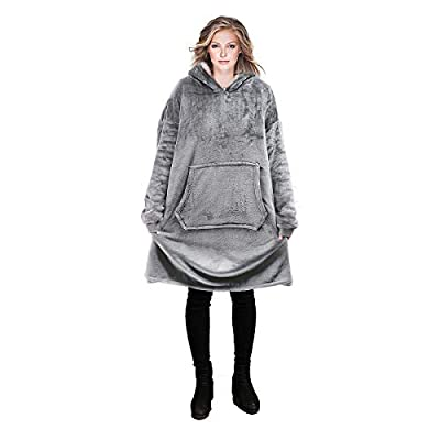 PR REEPOW Hoodie Blanket Sweatshirt Featured on Shark Tank Oversized Wearable Blanket Warm Soft Comfortable Sherpa Hoodie for Women Men, One Size Fits All