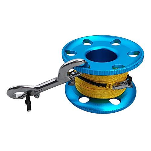 IPOTCH 1 Pc de Carrete para Buceo y Snorkel en Cueva Hecho de Aleación de Aluminio y Acero Inoxidable - Azul-20m