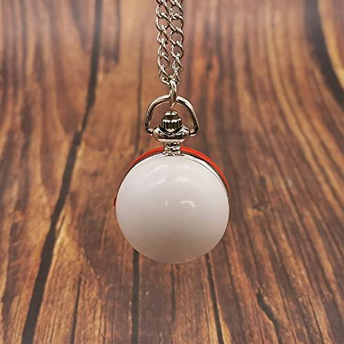GIPOTIL Reloj de Bolsillo Forma de Bola números arábigos Unisex Antiguo Vintage Bola Ojo de Buey Collar Largo Colgante Reloj de Cuarzo Fob Regalo Hombres