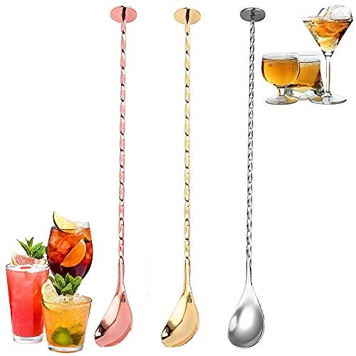 SDFSA 3 Pezzi Cucchiai da Cocktail, Cucchiai da Bar, Cucchiaio da Cocktail Lungo, Acciaio Inossidabile Manico Lungo Spirale Cucchiaio da Mescolare per Barista, Uso Domestico (Argento, Oro, Oro Rosa)