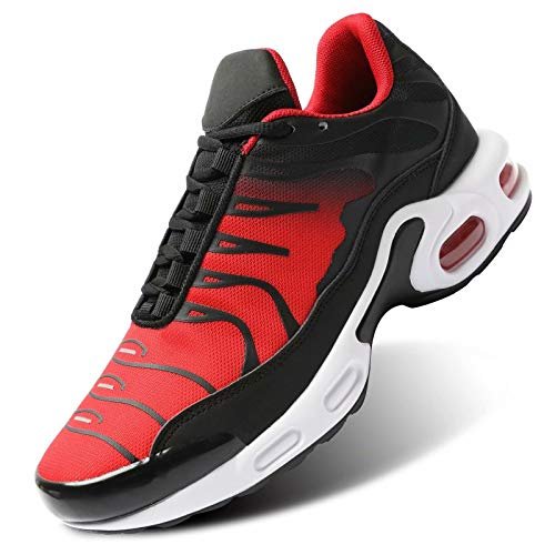 Wrezatro Zapatillas de deporte para hombre con acolchado de aire, transpirables, antideslizantes, para caminar, tenis, etc., color Rojo, talla 42 EU