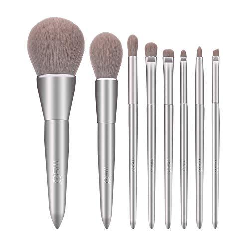 DHB 8 Pcs Maquillage Pinceaux Professionnel Premium Synthétique Ensemble pour Visage Ombre À Paupières Fondation Lèvres Liquide Mélange Brus,Silver