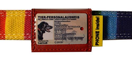 josi.li Halsbandtasche für Hundeperso 25x40mm, Nappaleder, 3 Innenfächer, wasserfest, viele Varianten (40x47mm - bis 40mm Halssbandbreite)