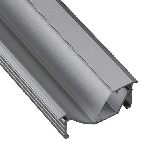 Gedotec Einbauprofil abgewinkelt 14 mm Aluminium-Profil 2500 mm Profilleiste für LED-Streifen | Alu silber eloxiert | Streuscheibe milchig transparent | 1 Stück - Eckprofil für Möbel - Wand & Decke