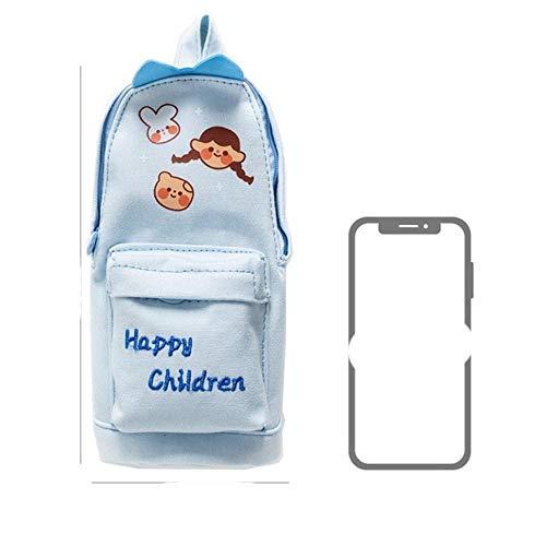 Kawaii Lucky Cat and Dinosaur Pen Bolsa de lápices de dibujos animados en forma de bolsa de escuela organizador para bolígrafos, papelería escolar A6785-Light Blue Happy