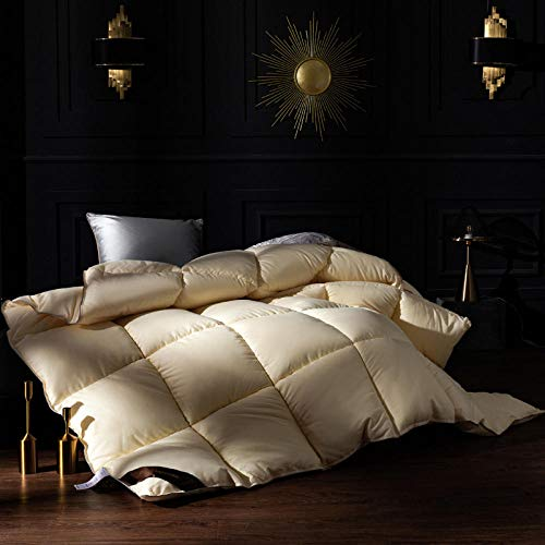 Duvets Double All SeasonWithout the Weight White Goose Feather and Down Duvet 100% Cotton Shell Anti-dust mite-Feather-proof Fabric -Anti-allergy-yellow_180x220cm-3000g