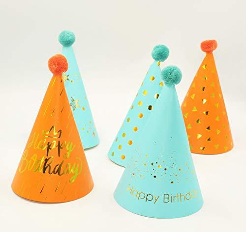 Happium - Cono de papel con pompón para fiestas de cumpleaños con 10 unidades