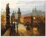 CaiHongPZZPanda Gemälde von Zahlen Altstadt Prag Ankunft einzigartiges Geschenk dekoratives Bild Erwachsenen 40x50cm-mit Rahmen