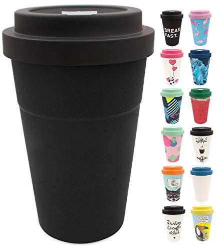 holi. Coffee-to-Go Bambus-Becher mit Schraubdeckel, Filz-Manschette   nachhaltiger Kaffeebecher mit Verschluss   Mehrweg-Becher Bamboo-Cup   Woodcup spülmaschinenfest (All Black)