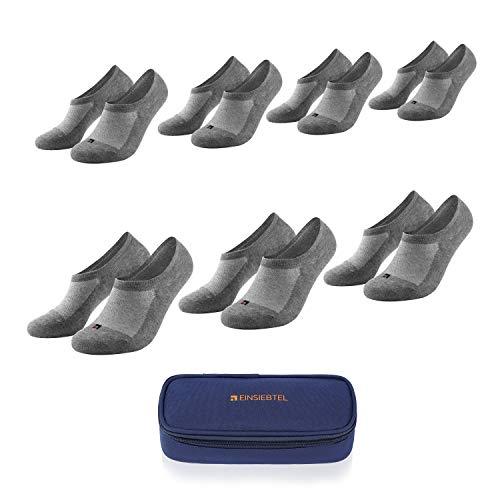 EINSIEBTEL® EINCOOL Unisex Füßlinge, unsichtbare Sneaker Socken mit Antirutsch-Silikon, Herren und Damen, 7er Pack, Nachhaltige Verpackung mit Aufbewahrungstasche (7X Grey, 47-50)
