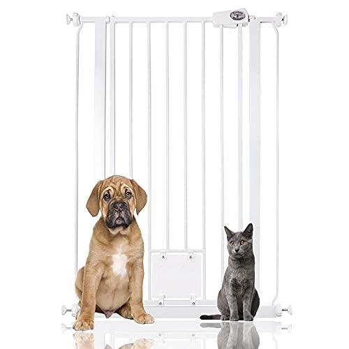 Bettacare, Pet Gate, Türschutzgitter für Haustiere, mit Katzenklappe, Verlängerungen erhältlich, 75-84cm/ 104cm