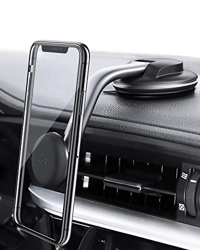 AUKEY C49 V Porta Cellulare Auto Magnetico 360 Gradi di Rotazione Cruscotto Supporto Smartphone Auto Universale per iPhone XS/XS Max, Samsung Galaxy S10+, Huawei e GPS Dispositivi, Nero