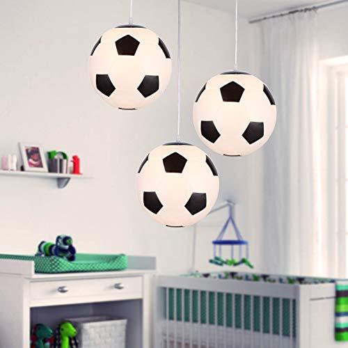 LED Deckenleuchte, Fußball Kronleuchter, Entwickelt für Fußballfans, Schlafzimmer Lampen, Weiß + Schwarz, E27, Ø 250mm