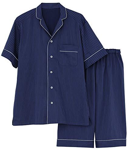 [グンゼ] パジャマ KaiminNavi 快眠ナビシルク入り 半袖6分丈パンツ シルク入りフハク メンズ ブルー 日本 M (日本サイズM相当)