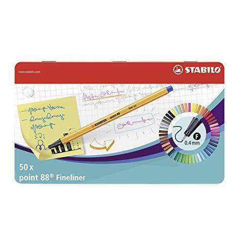 Rotulador puntafina STABILO point 88 - Caja de metal con 50 unidades (46 colores)