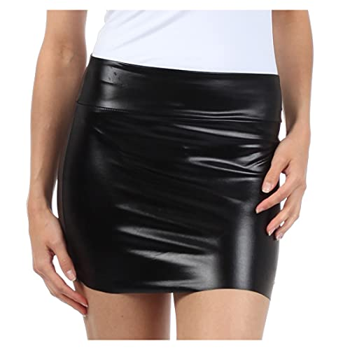 Women's Black, Shiny Liquid Look Mini Skirt, S to Plus Size