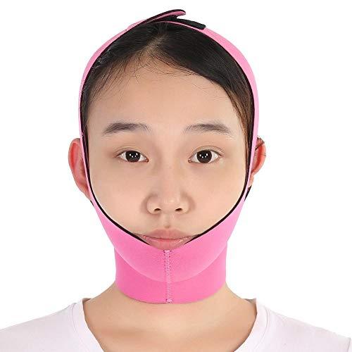 Ceinture amincissante de levage pour le visage, bande de bandelette en V, bande de levage double menton ace-lift, masque de shaper pour le visage(Rose)
