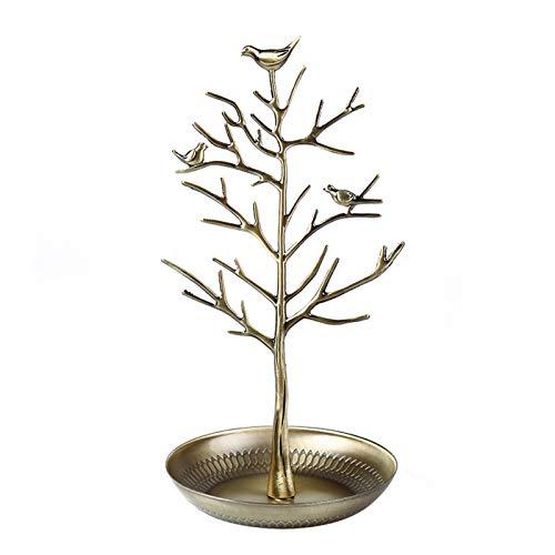 Estante de exhibición de joyería de metal retro estante de almacenamiento de pendientes estante de exhibición de rama femenina hogar creativo conjunto de 2 piezas de joyería,Gold1