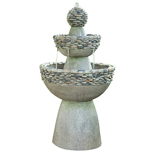 Peaktop Majestic 3 Tiered Stone Look Zen Pedestal Floor Waterfall Fountain with Pump for Outdoor Patio Garden Backyard Decking Décor, 37 inch Height, Gray