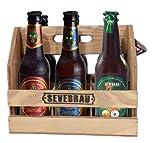 Pack Degustación de 6 Cervezas Artesanas Extremeñas Sevebrau en Cesta de Madera con Abrebotellas de Metal Incorporado