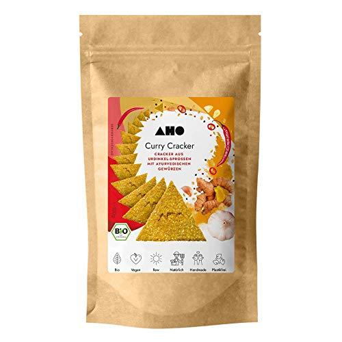 AHO Curry Cracker aus Bio Urdinkel-Sprossen 100g | Rohkostcracker aus gekeimtem Urgetreide aus deutschem Bio-Anbau | Superfood Sprossencracker | 100% Bio, Vegan, Raw | Plastikfrei verpackt (100g)