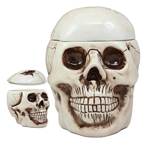 Ebros Gift Large Ceramic Ghastly Homosapien Jointed Human Skull Cookie Jar Decorative Figurine 925 Long Ossuary Macabre Dead Graveyard Grinning Skulls Halloween Kitchen Decor Accessory