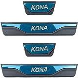 LADOG 4 piezas para Hyundai Kona 2021 (azul) de acero inoxidable para coche, protección contra arañazos, cubierta decorativa accesorio, 4 piezas de rodapié de acero inoxidable