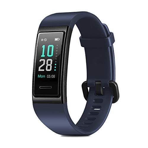 CHEREEKI Fitness Armband, Wasserdicht IP68 Fitness Tracker mit Pulsmesser Farbbildschirm Fitness Uhr Aktivitätstracker Schrittzähler Uhr Smartwatch SMS Anruf Beachten für Damen Herren (Blau)