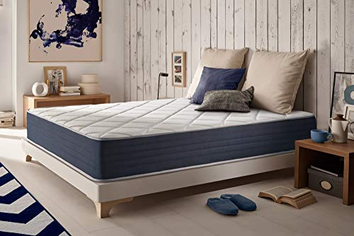 NATURALEX | Matelas Royalvisco 140x200 Cm | Mousse A Mémoire De Forme Adaptabilité Optimale | Système HR Multicouches Blue Latex | 7 Zones De Confort | Indépendance De Couchage