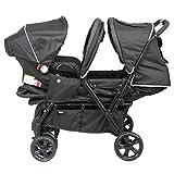 Bambisol – Doppel-Kinderwagen mit Autositz Gr0+ – Der Kombi für Zwillinge ab der Geburt, Regenschutz inklusive
