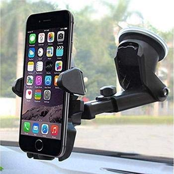 XGMO® Universal Silicone Sucker Long Neck Car Mobile Phone Holder Mount Stand Ultimate Reusable Suction Cup with 360 Degree Rotation for Car Windshield Dashboard – (Black)