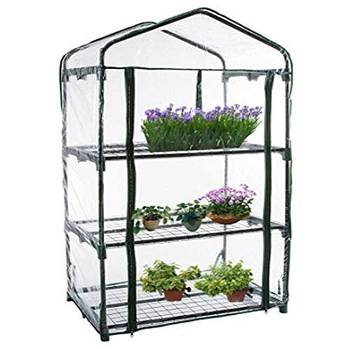 Mini invernadero ensanchado para interiores y exteriores, invernaderos de plantas pequeñas con estante, invernadero portátil con cubierta de PVC transparente, casa cálida para jardín, patio