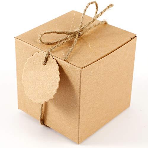 SurePromise One Stop Solution for Sourcing 50 Stück Kraftpapier Geschenkbox 7x7x7cm Geschenkschachtel Geschenkverpackung Gastgeschenk mit Geschenkanhänger Gift Tags Papieretiketten Hochzeit Tischdeko