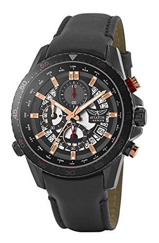 Aviator F-Series AVW2122G326 - Reloj cronógrafo para Hombre (Correa de Piel), Color Negro