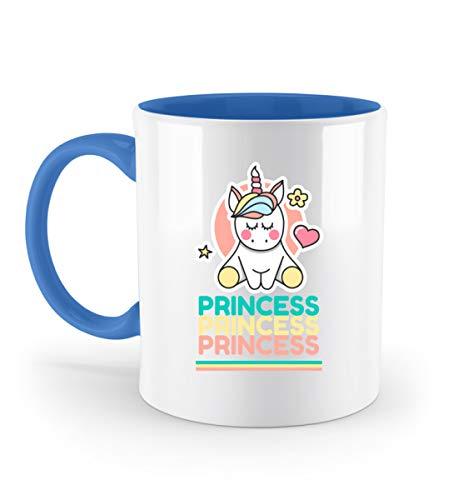 Einhorn Kaffeetasse Princess Prinzessin Unicorn Tasse Bürotasse - Zweifarbige Tasse -330ml-Blau