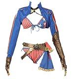Fate Grand Order FGO Miyamoto Musashi Summer Bikini Cosplay Costume Dress Yukata Halloween Carnaval Swimsuit (Female M)