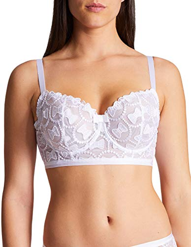 Aubade OC14-02 Women's Bow Collection White Non-Padded Underwired Comfort Half Cup Bra 80E