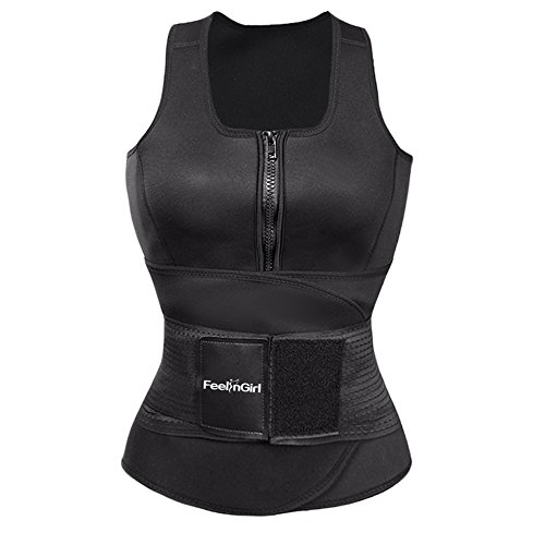FeelinGirl Women's Latex Sport Girdle Waist Training Corset Waist Shaper,Dark,Large