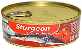 Canned Fish Sturgeon in Tomato Sauce (8.8 Ounce / 250 Gram) Imported from Armenia (Osetr)