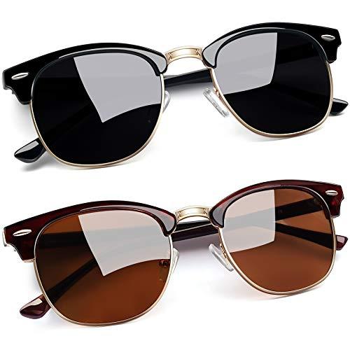 Joopin Óculos de Sol Feminino Marca Masculina Polarizado Semi Sem aro Espelhados Óculos de Sol Proteção UV (Ouro Preto Brilhante + Castanho)