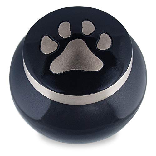 Adera Dreams Precious Memory Pet Urn for Dog Ashes or Cat Cremains, Small Black and Grey Pet Cremation Urn for Pet Ashes, Handmade for Your Best Friend, Paw Memorial Urn W Velvet Bag