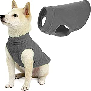 Gooby Stretch Fleece Dog Vest – Gray, Medium – Pullover Fleece Dog Sweater – Warm Dog Jacket Winter Dog Clothes Sweater Vest – Dog Sweaters for Small Dogs to Large Dogs for Indoor and Outdoor Use