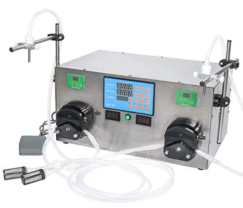 SPRINGHUA 2 cabezas Máquina de llenado de líquido Máquina peristáltica Botella de control digital eléctrica Relleno de botella de control 3-2500ml de acero inoxidable for perfume/agua/Aceite esenc