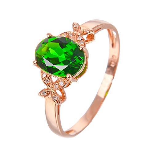 AueDsa Anillos Oro Rosa Verde Anillos de Oro Rosa Mujer 18 K Oro Rosa Verde Oval Mariposa Diópsido Verde Anillo Talla 11