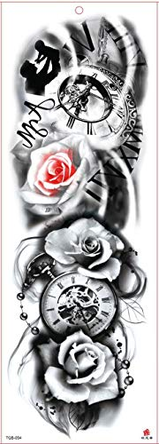 4Pcs Temporär Tätowierung, Lotus Buddha Angel Girl Tattoo Aufkleber Fake Arm Tattoos Sticker Für Männer Frauen,Mode Körper Kunst Aufkleber,Brust Schulter Tattoo Schwarz Körper Aufkleber