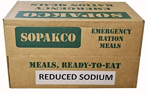 Military Outdoor Clothing Never Issued SOPAKCO MRE, Reduced Sodium, 9/2020 Inspection Date - 14 Meals per case (1 Case/14 Meals)