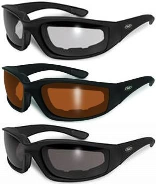3 Pair Padded Motorcycle Glasses Sunglasses Clear Driving Mirror Gray