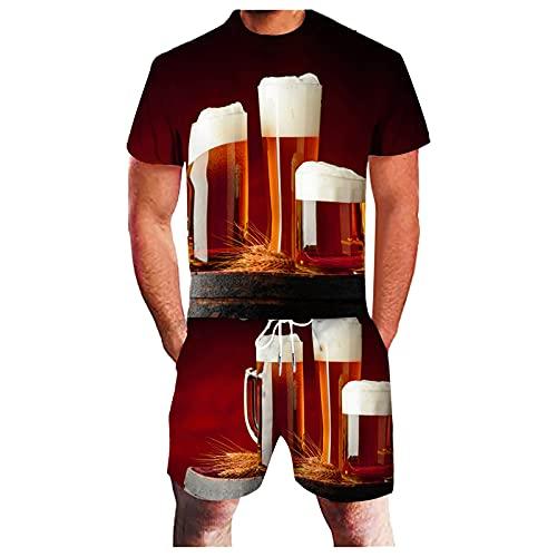 2021 Mens Sport Set Verano Conjunto 2 Piezas Conjunto De Manga Corta Camisetas Y Pantalones Cortos Elegante Casual Sudaderas Conjunto 3D Cerveza